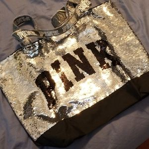 Brand new PINK sequined tote bag